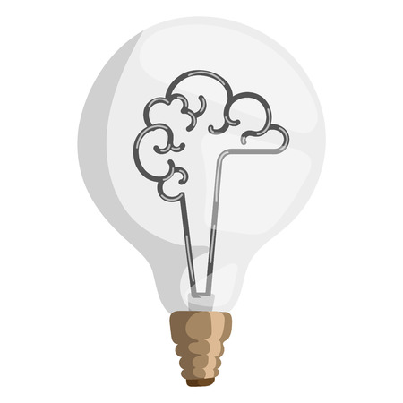 Brain lamp vector illustration concept isolated design innovation bulb light resource electricity symbol solution invention watt brainstorm sign Illustration