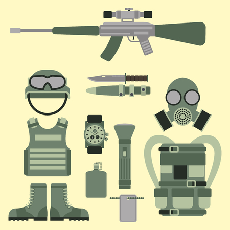atomic bomb: Military weapon guns symbols armor set forces design and american fighter ammunition navy camouflage sign vector illustration.