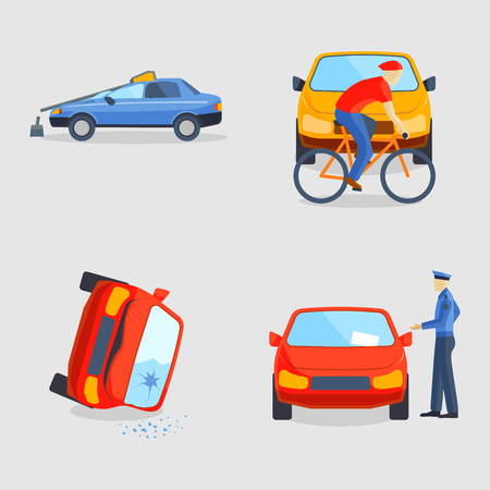 traffic pole: Car crash collision traffic insurance safety automobile emergency disaster and emergency disaster speed repair transport vector illustration.