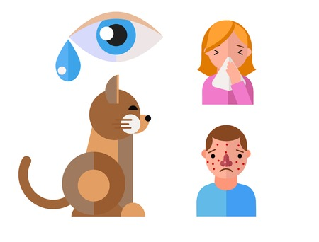 Allergy symbols animal disease healthcare cat viruses and health flat label people with illness allergen symptoms disease information vector illustration.