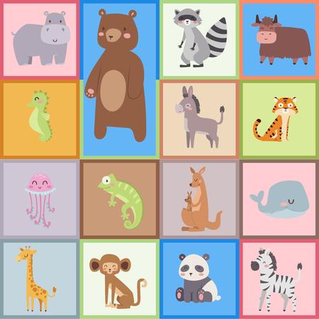 Cute animaux de bande dessinée de zoo isolés animaux sauvages drôles apprennent la langue mignonne et la nature tropicale safari mammifère jungle grands personnages illustration vectorielle. Banque d'images - 75442363