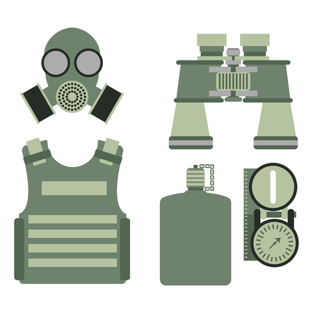atomic symbol: Military body armor symbols armor set forces design and american fighter ammunition navy camouflage sign vector illustration. Illustration