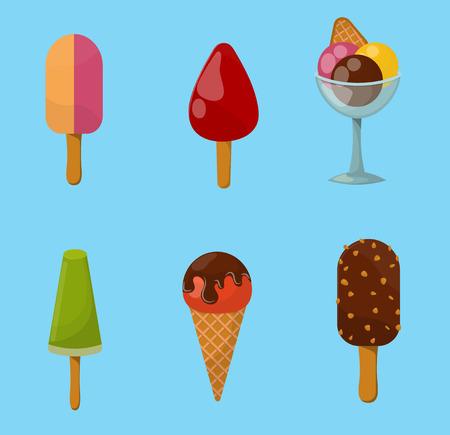 チョコレート フード甘い冷たい分離アイコン スナック コーンおいしいフルーツ キャンディ コレクションを凍結氷漫画カラフルなクリーム デザー  イラスト・ベクター素材