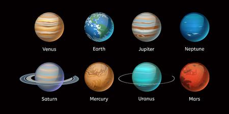 High quality solar system planet galaxy astronomy earth science globe orbit star vector illustration. Illustration