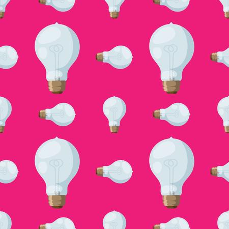 Cartoon lamps light bulb seamless pattern background design vector illustration electric icon object brainstorm symbol sign solution energy Illustration