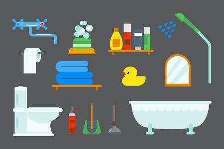 Line Art Bathroom Furniture : Bath equipment icons shower flat style colorful clip art