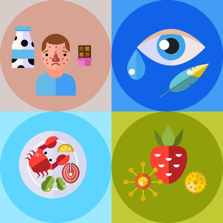 Allergie Symbole Krankheit Gesundheit Tabletten Viren und Gesundheit flache Label Menschen mit Krankheit Allergen Symptome Krankheit Informationen Vektor-Illustration. Vektorgrafik