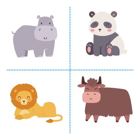 Cute animaux de bande dessinée de zoo isolés animaux sauvages drôles apprennent la langue mignonne et la nature tropicale safari mammifère jungle grands personnages illustration vectorielle. Banque d'images - 75274605