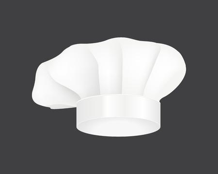 Modern white chef hat restaurant uniform costume wear fabric cooker fashion vector illustration. Illustration
