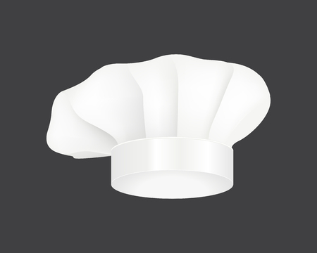 Modern white chef hat restaurant uniform costume wear fabric cooker fashion vector illustration. Иллюстрация
