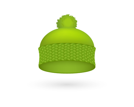 Green cold hat trendy season warm wool cap fashion winter accessory wear head vector illustration