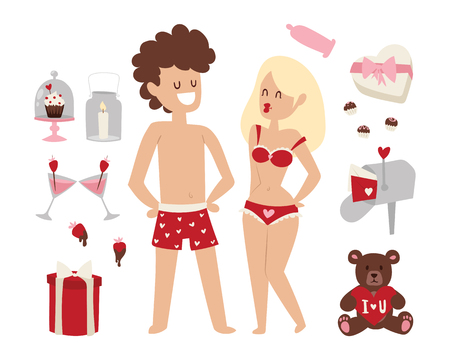 Cartoon young lovers couple valentine day signs nude date man and woman fall in love vector illustration. Illustration