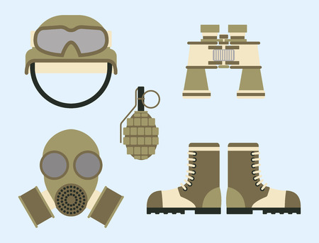 Military weapon ammunition symbols armor set forces design and american fighter ammunition Illustration