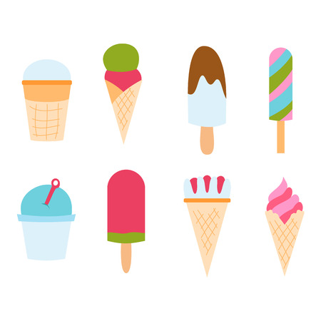 Set ice cartoon colorful cream dessert vector illustration chocolate food sweet cold isolated icon snack cone tasty fruit frozen candy collection