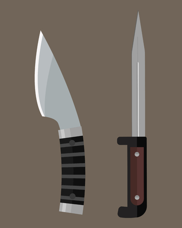 stainless steel: Knife weapon dangerous metallic sword vector illustration of sword spear edged set.
