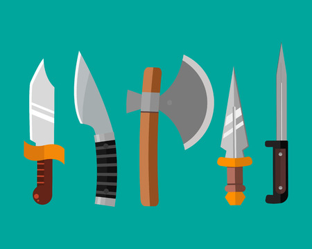 Knife weapon dangerous metallic vector illustration of sword spear edged set. Illustration