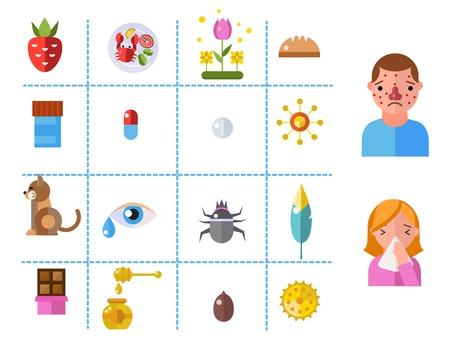 celiac: Allergy symbols disease healthcare tablets viruses and health flat label people with illness allergen symptoms disease information vector illustration.