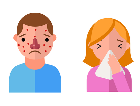 Allergy symbols disease healthcare characters viruses and health flat label people with illness allergen symptoms disease information vector illustration. Illustration