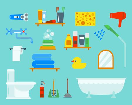 sanitary towel: Bath equipment icons shower flat style colorful clip art illustration for bathroom hygiene vector design.