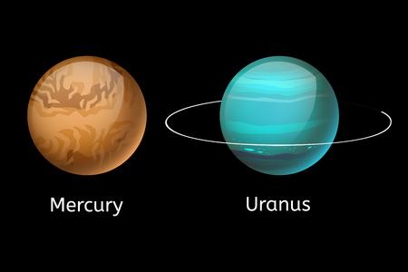 uranus: High quality mercury galaxy astronomy uranus planet science globe cosmos star vector illustration.