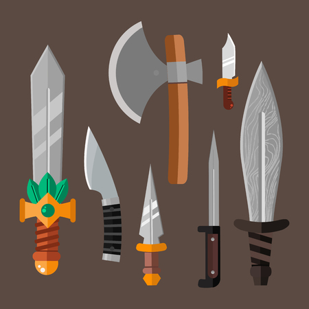 tactical: Knife weapon dangerous metallic vector illustration of sword spear edged set. Illustration