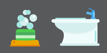 Bath equipment icon toilet bowl bathroom clean flat style illustration hygiene bidet design.