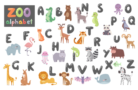 Cute zoo alphabet with cartoon animal isolated on white backdrop and funny letters wildlife learn typography cute language vector illustration. Ilustração