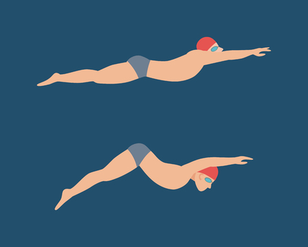 Vector illustration of swimming style scheme different swimmers man in pool sport exercise.