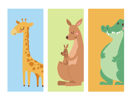 Cute zoo cartoon animals cards funny wildlife learn cute language and tropical nature safari mammal jungle tall characters vector illustration.
