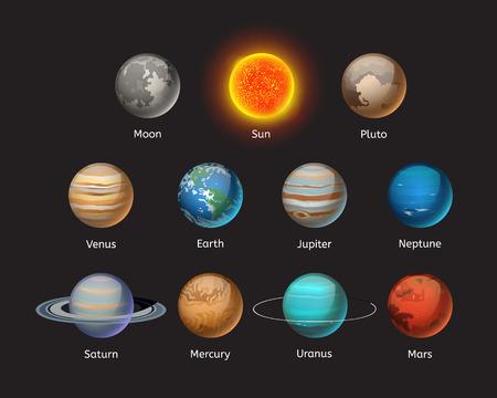 고품질 태양계 행성 갤럭시 천문학 지구 과학 세계 궤도 스타 벡터 일러스트 레이 션.
