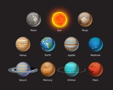 High quality solar system planet galaxy astronomy earth science globe orbit star vector illustration. Ilustração