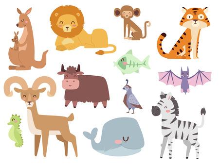 Cute zoo cartoon animals isolated funny wildlife learn cute language and tropical nature safari mammal jungle tall characters vector illustration. Illustration