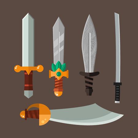 剣槍のベクトル イラストは刃セットです。