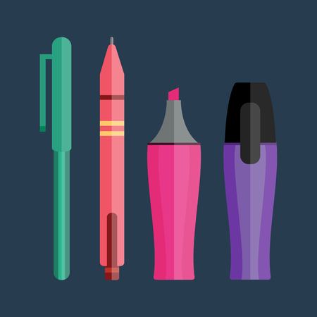 Vector illustration of pen, pencil and highlighters. Çizim