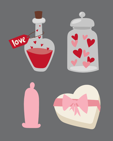 Happy valentine day flat design love wedding items and heart love romance celebration vector illustration.