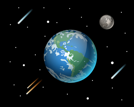 High quality planet galaxy astronomy and earth science globe orbit moon star vector illustration.