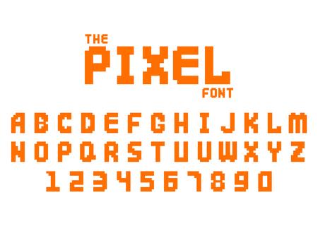 Pixel Retro Schriftart Video Computer Spiel Design 8 Bit Buchstaben Zahlen elektronischen futuristischen Stil Vektor abc Schriftbild digitalen kreativen Alphabet isoliert Standard-Bild - 75871960