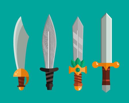 throwing knife: Knife weapon dangerous metallic sword vector illustration of sword spear edged set.