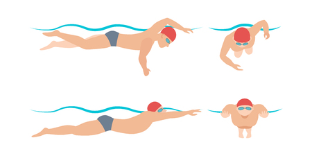 Vector illustration of swimming style scheme different swimmers man and woman in pool sport exercise. Ilustracja