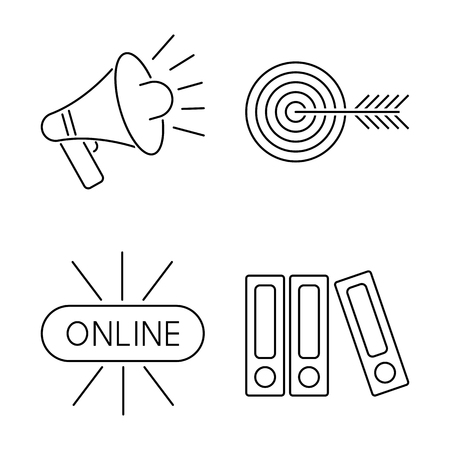 computer education: Vector illustration business webinar and online education outline internet trainings icons.