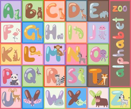 Alphabet zoo mignon avec des animaux de dessin animé isolé et drôle de lettres apprendre la faune typographie langue mignonne illustration vectorielle. Banque d'images - 75998132