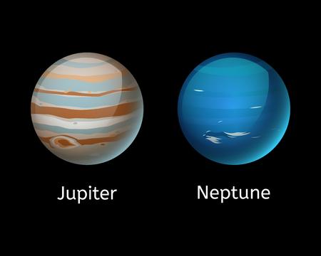 De alta calidad júpiter galaxia astronomía neptune planeta ciencia globo cosmos estrella ilustración vectorial. Foto de archivo - 76164632