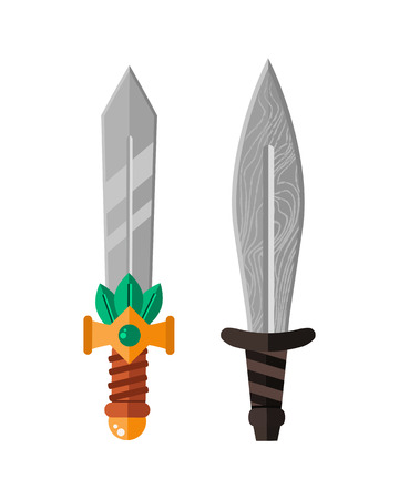 Knife weapon dangerous metallic sword vector illustration of sword spear edged set.