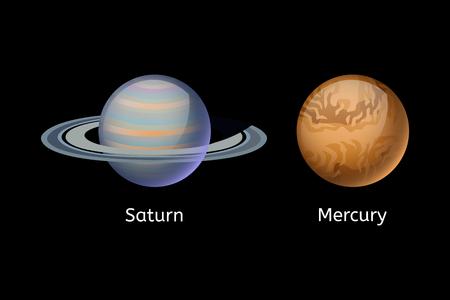 Ejemplo del vector de la estrella del cosmos del globo de la ciencia de Saturno de la astronomía de la galaxia del mercurio de alta calidad. Foto de archivo - 76147390