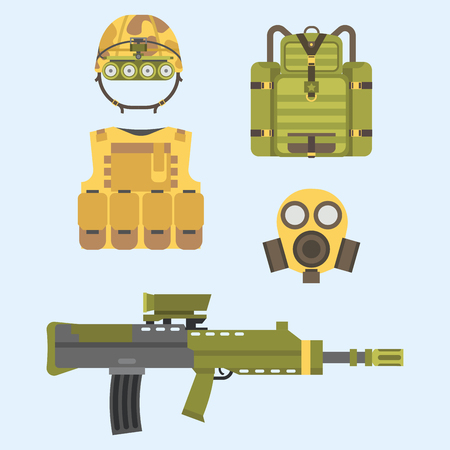 atomic bomb: Military weapon guns armor forces american fighter ammunition camouflage sign vector illustration.
