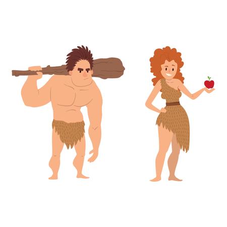 Ejemplo neandertal del vector de la evolución del carácter de la gente de la historieta de la edad de piedra primitiva del hombre de las cavernas.
