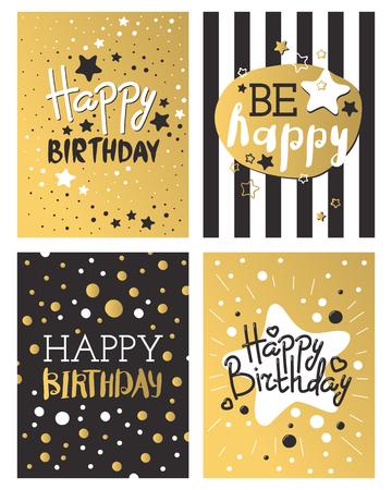 Beautiful birthday invitation card design gold and black colors vector greeting decoration. Ilustração