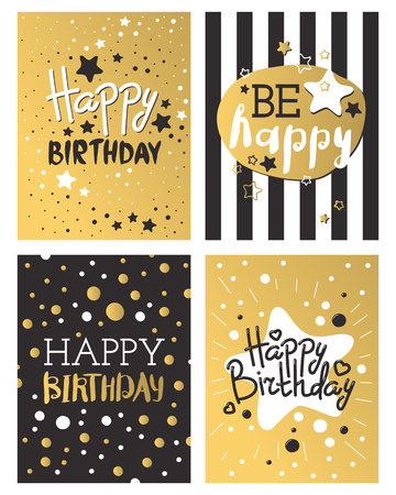 Beautiful birthday invitation card design gold and black colors vector greeting decoration. Illustration