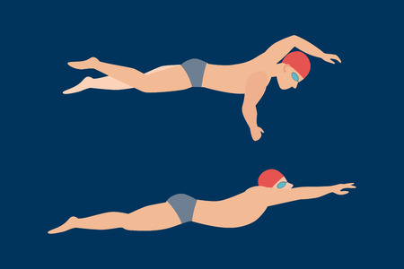 swimming cap: Vector illustration of swimming style scheme different swimmers man and woman in pool sport exercise. Illustration