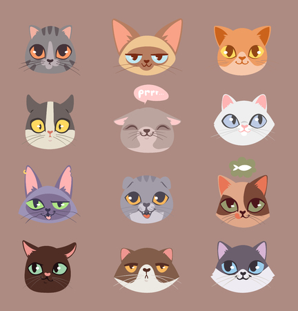 Cats vector heads illustration 向量圖像